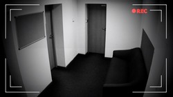 Empty corridor view through surveillance camera, private property protection