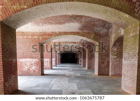 Empty corridors beneath Fort Point National Historic Site. San Francisco, California, USA. #1063675787