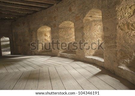 empty corridors on ancient building in europe.