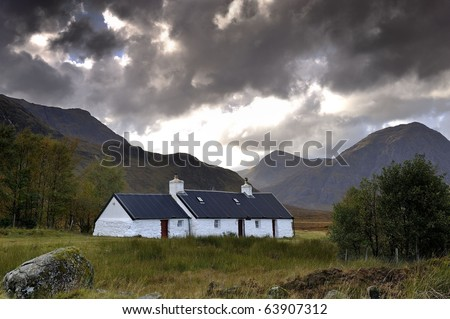Empty cottage in the Scottish highlands - stock photo