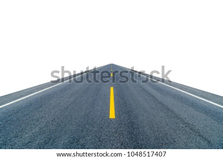Empty countryside asphalt road isolated on white background