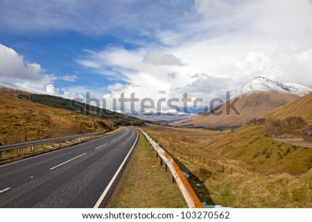 Empty Countryside Road stretching out in Scotland
