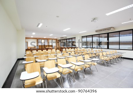 Empty  courtroom with modern,  Class room in university at Thailand.