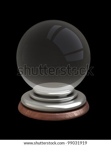 empty crystal ball isolated on black background 3d