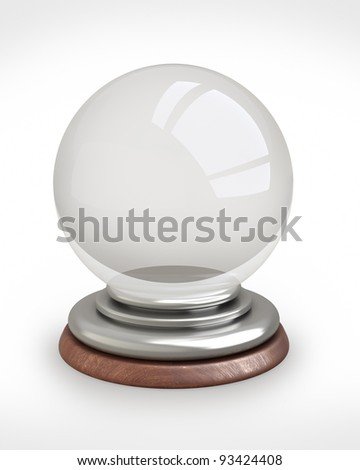 empty crystal ball isolated on white background  3d