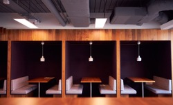 Empty Cubicles In Modern Office Building During Health Pandemic