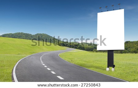 empty curve road with blank billboard beside
