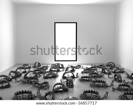 Empty 3d room with floor covered in foothold traps, horizontal