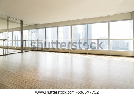 Empty dance studio and cityscape #686597752