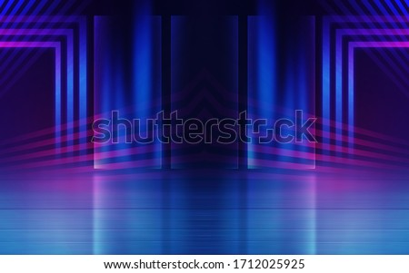 Empty dark abstract background. Background of empty show scene. Glow of neon lights and neon figures on an empty concert stage. Reflection of light on the pavement.