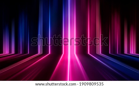 Empty dark abstract background. Background of empty show scene. Glow of neon lights and neon figures on an empty concert stage. Reflection of light on the pavement.  3D illustration