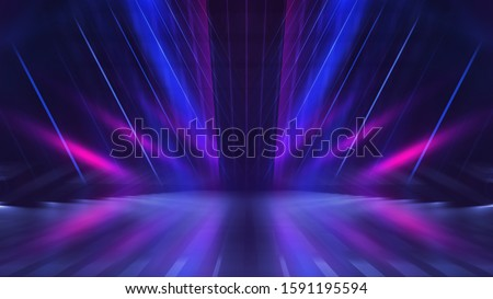 Empty dark abstract background. Background of empty show scene. Glow of neon lights on an empty concert venue. Reflection of light on the pavement.