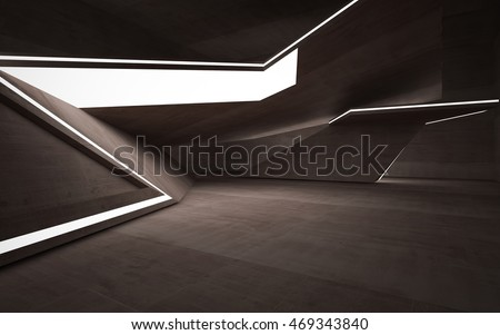 Empty dark abstract brown concrete room interior. Architectural background. Night view of the illuminated. 3D illustration and rendering