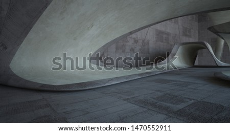 Empty dark abstract brown concrete room smooth interior. Architectural background. 3D illustration and rendering #1470552911