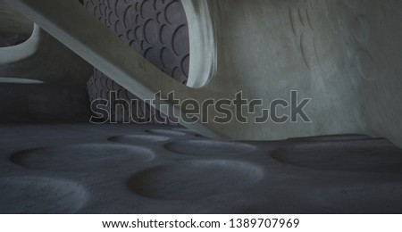 Empty dark abstract brown concrete room smooth interior. Architectural background. Night view of the illuminated. 3D illustration and rendering #1389707969
