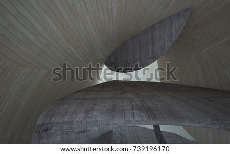 Empty dark abstract concrete and wood smooth interior. Architectural background. 3D illustration and rendering #739196170