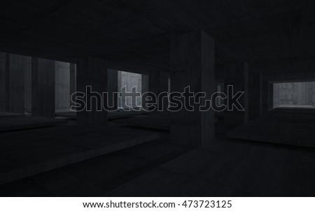 Empty dark abstract concrete room interior. Architectural background. 3D illustration and rendering #473723125