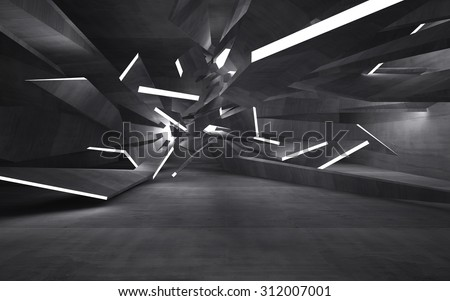 Empty dark abstract concrete room interior. 3D illustration. 3D rendering