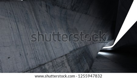 Empty dark abstract concrete room smooth interior. Architectural background. Night view of the illuminated. 3D illustration and rendering #1255947832