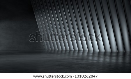 Empty dark abstract modern concrete interior. 3D illustration.