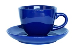 empty dark blue cup and saucer isolated on white