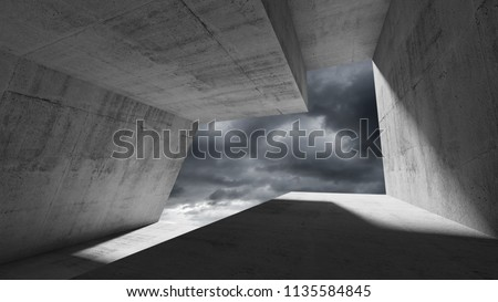 Empty dark concrete interior with stormy dramatic sky behind the window. Modern minimalist architecture background, 3d render illustration