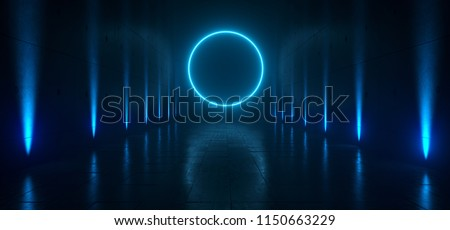 Empty Dark Futuristic Sci Fi Big Hall Room With Lights And Circle Shaped Neon Light On  Refelction Surface 3D Rendering Illustration