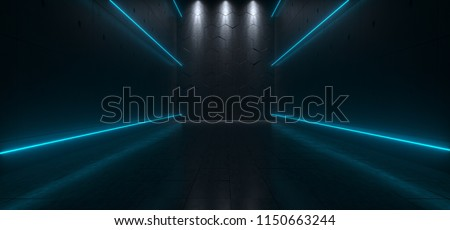 Empty Dark Futuristic Sci Fi Big Hall Room With Lights And Refelction Surface 3D Rendering Illustration