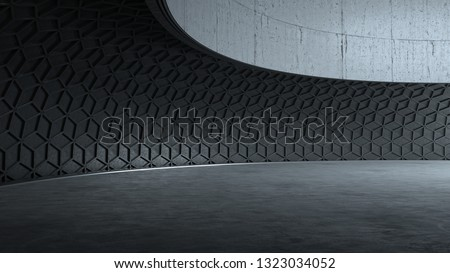 Empty dark modern architecture scene. Car backplate. 3D illustration. 3D rendering.