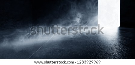 Empty dark room, cold dark background, smoke, smog, the light from the window falls to the floor. Dark blue gloomy background.  3D rendering