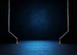 Empty dark room, Modern Futuristic Sci Fi Background. 3D illustration