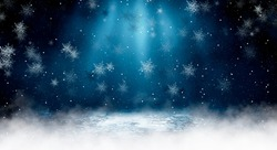 Empty dark, winter scene with snowflakes, winter dark background. Abstract snow, blizzard. Abstract light, rays, snow. Winter night.