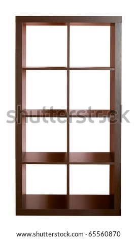 Empty dark wooden shelf isolated on white - stock photo