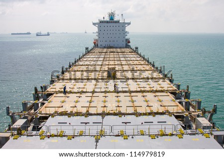 Empty deck of container ship.