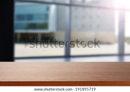 empty desk and blue window