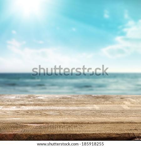 empty desk and summer sea