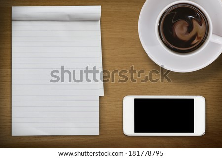 empty desktop, note coffee and phone