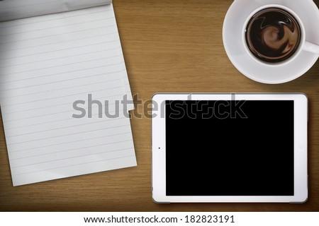 empty desktop, note paper and tablet