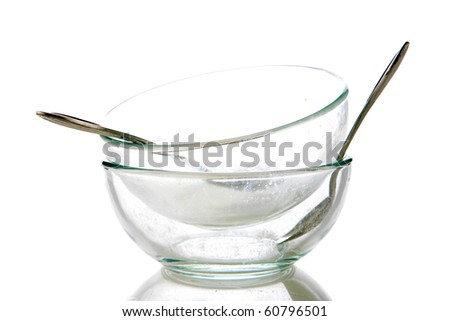 empty dirty dishes. isolated on white