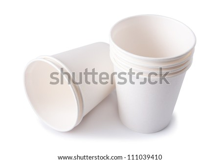 Empty Disposable Cups , Isolated on white