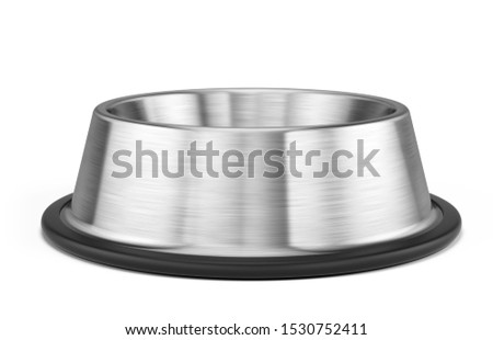 Empty Dog or Cat stainless steel bowl for food isolated on white - pets bowl. 3d illustration.