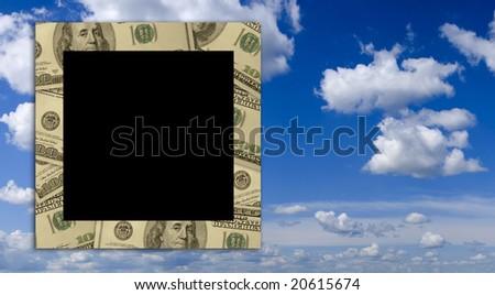 Empty dollar frame with deep blue sky background - stock photo