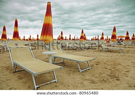Empty dramatic beach with cloudy sky