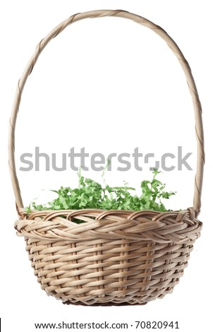 Empty Easter Basket with Green Grass Isolated on White with a Clipping Path.