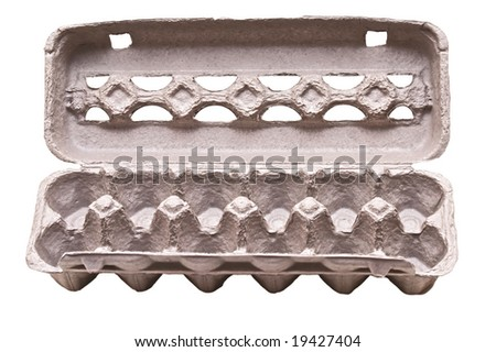 empty egg carton isolated on white rich in detail