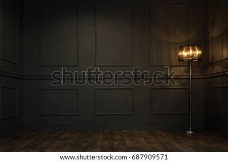 Empty elegant vintage room at night with copy space