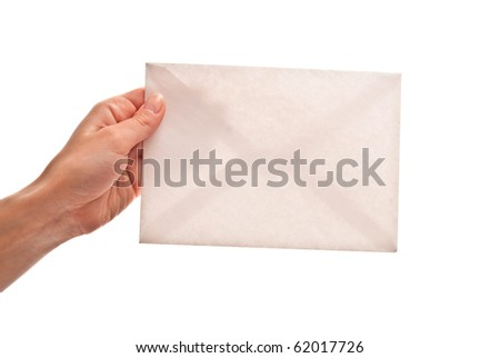 Empty envelope in woman's hand. Isolated on white