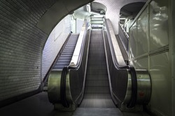 Empty escalator stairs in Paris metro system