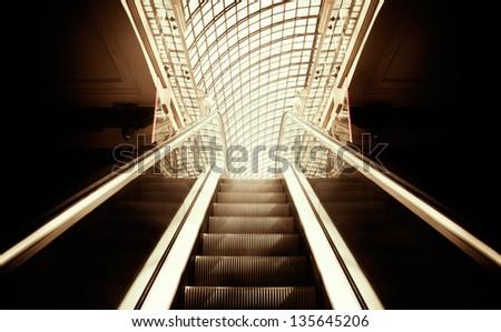 Empty escalator stairs ,selective focus on nearest part