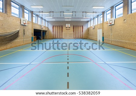 Empty european gym class for school sports no people